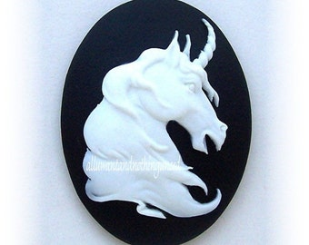 2 White Mythological Unicorn Horse Head Profile Equine on a Black Background Cameos 40mm x 30mm Resin Cameo Lot for Making Costume Jewelry