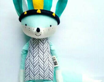 NAYELI the fox. made to order. headdress. eco toy. mint fox.