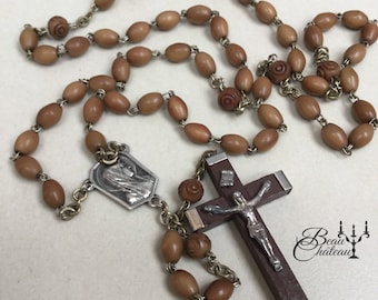 Vintage French Rosary Beads Necklace wooden crucifix and silver