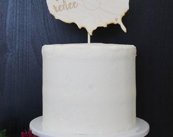 Personalized United States Wedding Cake Topper | Custom Name | Shortcake Collection