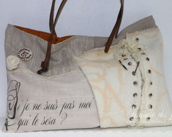 "Cream, beige white tote bag off-white felt, linen, taffeta and silk, ""Union"""