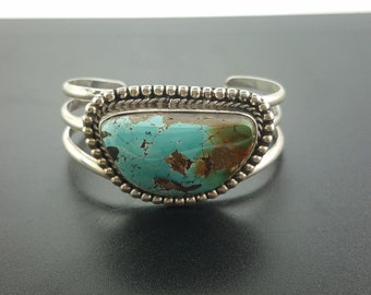 Natural Royston turquoise cuff bracelet - sterling silver