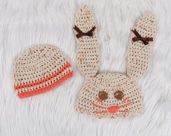 Bunny Hat for infant, Easter Hat, Cotton Hat, Baby Shower Gift Neutral, Crochet Bunny Hat, Bunny Hat with Ears, Knit Bunny Hat, Rabbit hat