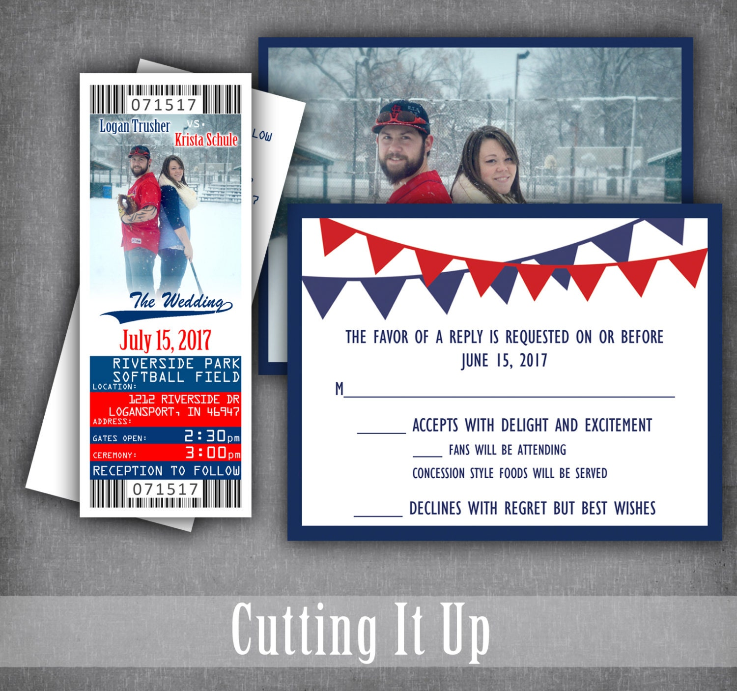 Baseball wedding ticket invitations sport themed wedding zoom monicamarmolfo Image collections
