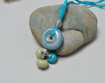 Turquoise concentricity - Necklace - Lampwork jewelry by Loupiac