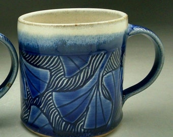 Carved Ginkgo Design Stoneware Coffee Mug Blue and White