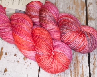 Hand Dyed Yarn Worsted Superwash Merino in Magenta and Orange