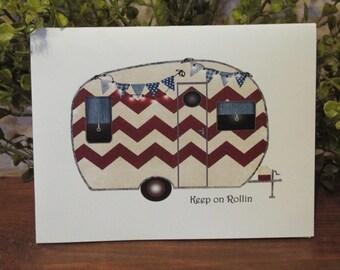 Keep on Rolling Chevron Birthday Card - FREE SHIPPING
