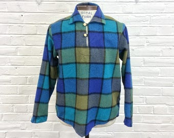 Size M/L Vintage 1950s 1960s Plaid Wool Pullover Poncho Shirt Jacket