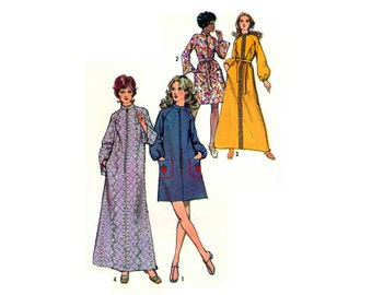 Housecoat, House Dress, Bathrobe, Duster, Women's Robe Sewing Pattern Misses Size 12, 14 Vintage 1970's Simplicity 9722