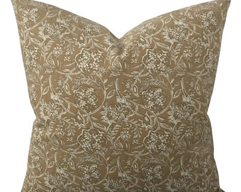 "Linen Rustic Floral Decorative Pillow Cover 20"" x 20"""