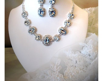 Bridesmaid jewelry set, Bridal jewelry set, Wedding jewelry set, Backdrop necklace earrings, evening jewelry, crystal necklace earrings set