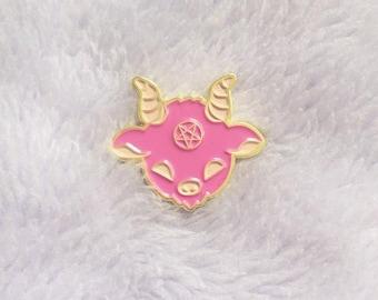 Kawaii Satan Enamel Pin, Cute Pink Lucifer Lapel Pin