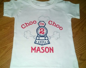 Choo Choo I'm 2 - Train Theme 2nd Birthday Boy Bodysuit Or T-Shirt - Personalized