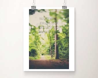 woodland photograph inspirational quote nature photography tree photograph typography print wanderlust art woodland decor