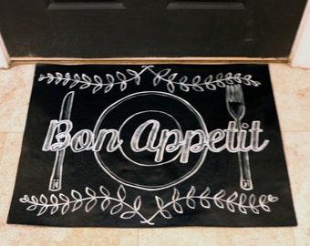 Bon Appetit Chalkboard-look Floorcloth