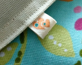 Half Sheet of Fold Over Labels  - Custom Clothing Labels, Organic Cotton