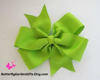 Apple green pinwheel hair bow clip