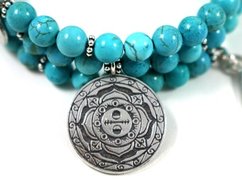 Magnesite Healing Gemstone Mandala Bracelet, Balance, Festival Jewelry, Boho, Hippy jewelry, love stone, Crown Chakra, heart