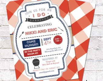Couples Barbecue Shower Grill Invitation - 5x7 - Custom bbq Shower Invite - DIY Printing *DIGITAL FILE*