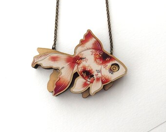 Laser Cut Fantail Goldfish Statement Necklace, an illustrated wood necklace - Fish Mermaid Goldfish Pond Jewellery Pendant Birch Please