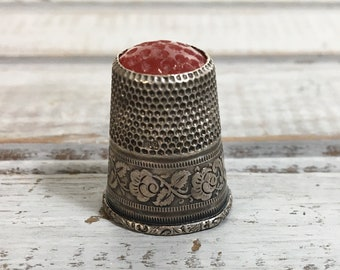 Sterling and Red Top Thimble