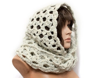 Hooded Scarf, Chunky hooded scarf, delicate air scarf by LoveKnittings