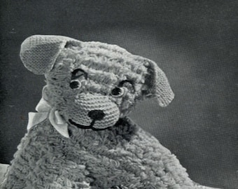 Vintage Knitting pattern of a Toy Puppy Dog