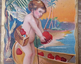 Antique Valentine Postcard Cupid Canoe Early 1900's