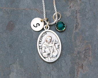 Saint St Francis of Assisi Necklace - Personalized Initial, Swarovski Crystal Birthstone or Pearl -Patron of Animals, Merchants, Environment