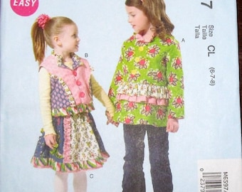 McCall's 6597 Designer Sewing Pattern Girls Easy Chelsea Andersen Boho Separates Ruffle Skirt Jacket Vest Sz 6 7 8 Chest Bust 25 26 27 UC FF
