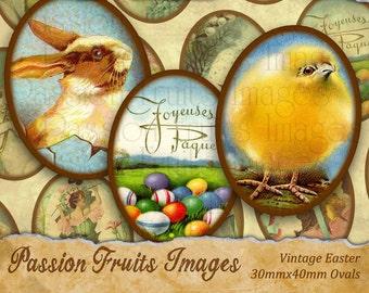 Vintage Easter Victorian Greeting Card Images 30mmx40mm ovals  Digital Collage Sheet