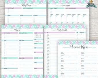 Printable Planner Agenda Pack, Digital planner PDF Acrobat editable, Daily Planner, Life Planner, 8.5x11 Planner Pages, Instant download