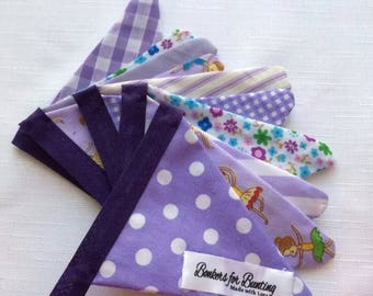 Purple themed decorative Bunting. Gift party banner.