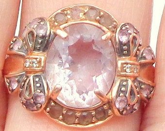 Morganite Ring, Solid Rose Gold, Pastel Pink, Smokey Quartz & Pink Sapphire Accents, Vintage Jewelry, Bow Design, Large Gemstone