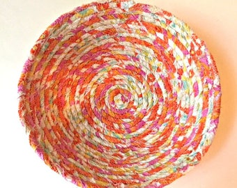 Fabric Basket, Fabric Bowl, Orange Bowl, Clothesline Basket, Fabric Wrapped Bowl, Gift for Her, Handmade Basket, Storage Container Organizer