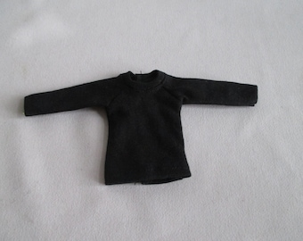 Handmade outfit for Blythe doll long sleeve Sweater Tee shirt Black SW-17