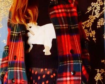Reversable vintage check soft wool donkey jacket