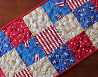 American Table Runner, USA Decor, 4th of July Table Runner, July 4th, Independence Day Table Runner, Red White Blue, Memorial Day Decoration