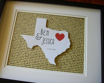 State Art, Paper Anniversary Gift, Personalized Wedding Gifts, 11X14 Unframed 3D State Love Wedding Gift, Paper Anniversary Gift For Him