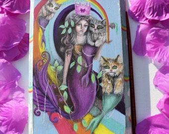 Original acrylic painting of a Princess Mermaid and her mercats. Fairytale, fantasy, whimsical, pop surrealism, rainbow art. Wall decor.