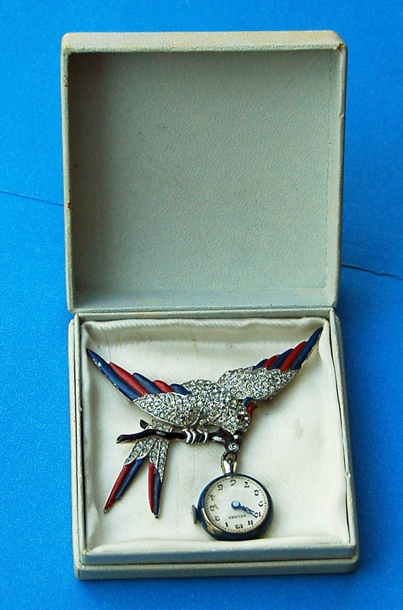 Rare 1940 Vintage Patriotic Lapel SWISS WATCH BELMAR Red/Blue Enameled Wings Patriotic Eagle Pave set Rhinestones Original Box V G Condition