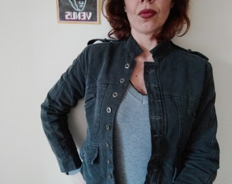 Woman CROP JACKET 90s 'BROADWAY' Grey Cotton Jacket Buttons Stand Collar Jacket Martingale sz. S