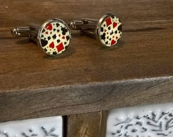 HANDMADE CUFFLINKS - Hearts, Clubs, Spades and Diamonds design (Perfect for a Poker player) - ClaireGJewellery
