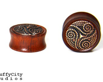 Bloodwood Double Flare Plugs w/Cabochon Inlay