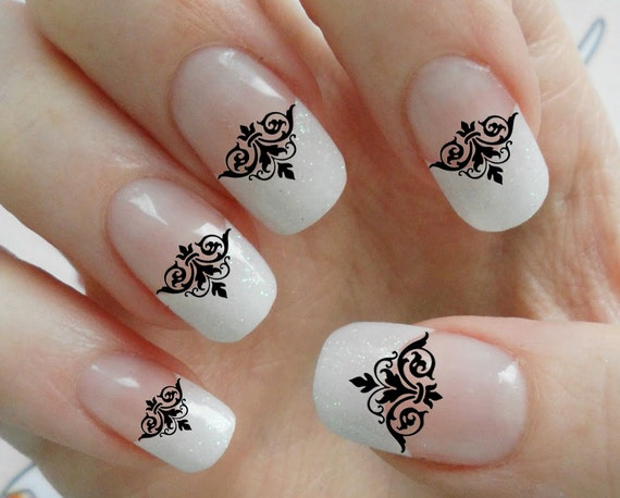 63 Black Lace Damask Nail Art Tips Megapack Dmt Fleurish