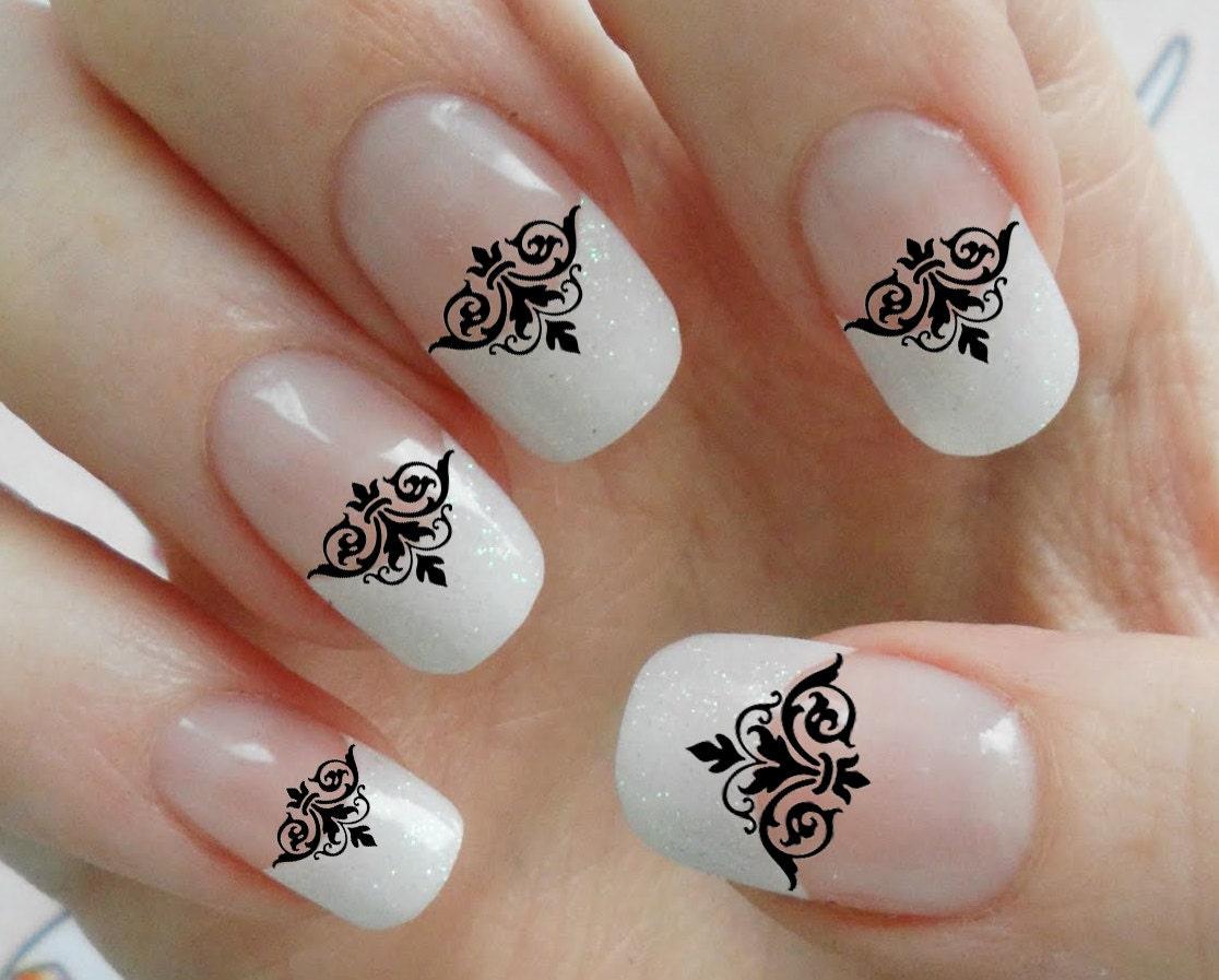 63 Black Lace DAMASK Nail art Tips MEGAPACK DMT Fleurish