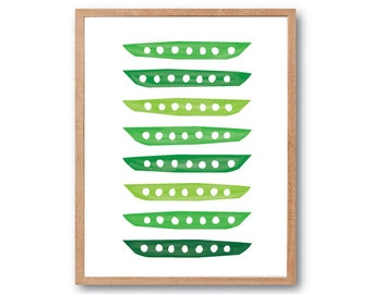 Peas Art print, fruit wall art, vegetable art print, botanical illustration, botanical art print, kitchen wall decor