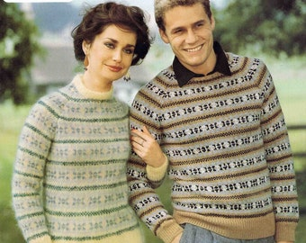 Man's Lady's Round Crew Neck Sweater Pullover Jumper Size 81 to 107 cm 32 to 42 inch Lister Lee Motoravia DK 1726 Vintage Knitting Pattern