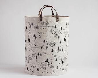 Homestead Large Basket. Hamper. Bucket Bag. Storage Bag. Tote. Yarn Basket. Knitting Bag. Fabric Bucket.